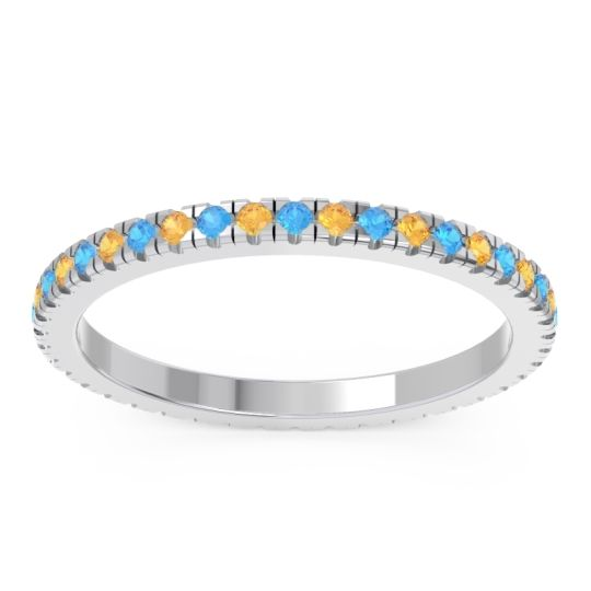 Swiss Blue Topaz Eternity Pave Kona Band with Citrine in 18k White Gold