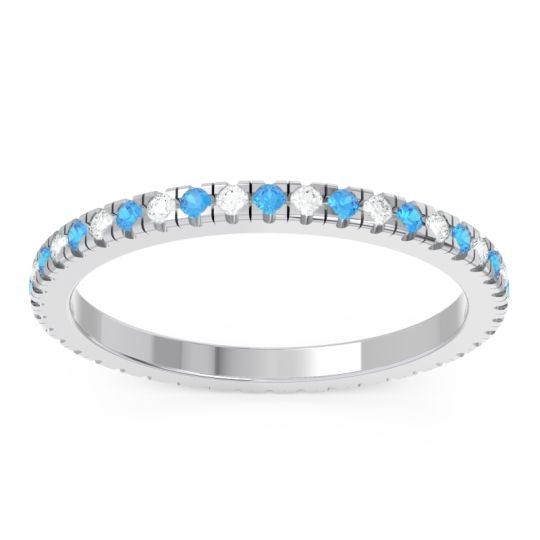 Swiss Blue Topaz Eternity Pave Kona Band with Diamond in Platinum