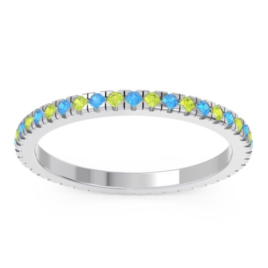 Swiss Blue Topaz Eternity Pave Kona Band with Peridot in 18k White Gold