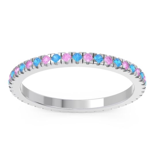 Swiss Blue Topaz Eternity Pave Kona Band with Pink Tourmaline in Platinum