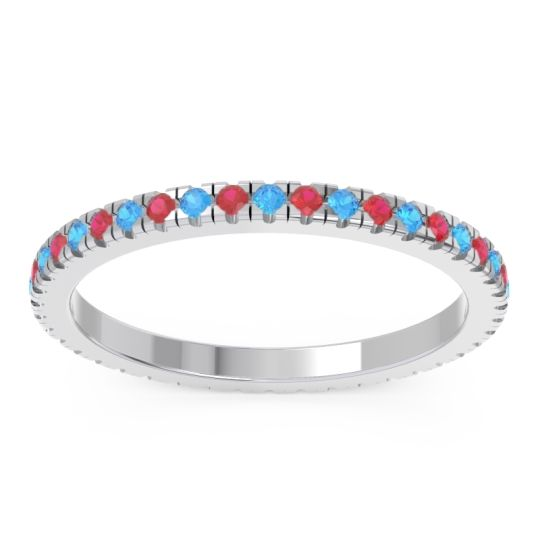 Eternity Pave Kona Swiss Blue Topaz Band with Ruby in Platinum