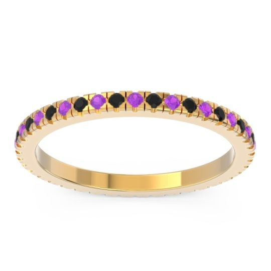 Amethyst Eternity Pave Kona Band with Black Onyx in 18k Yellow Gold