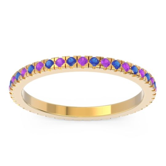 Amethyst Eternity Pave Kona Band with Blue Sapphire in 14k Yellow Gold