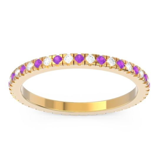 Amethyst Eternity Pave Kona Band with Diamond in 18k Yellow Gold