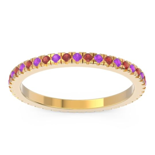 Amethyst Eternity Pave Kona Band with Garnet in 18k Yellow Gold