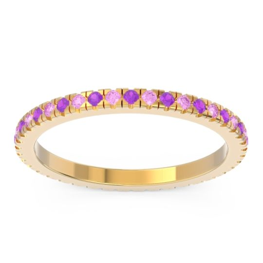 Amethyst Eternity Pave Kona Band with Pink Tourmaline in 14k Yellow Gold