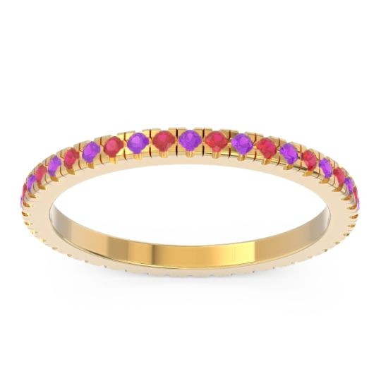 Eternity Pave Kona Amethyst Band with Ruby in 18k Yellow Gold