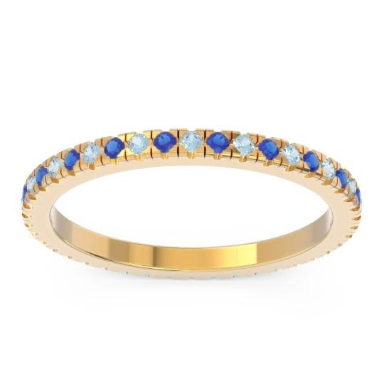 Aquamarine Eternity Pave Kona Band with Blue Sapphire in 18k Yellow Gold