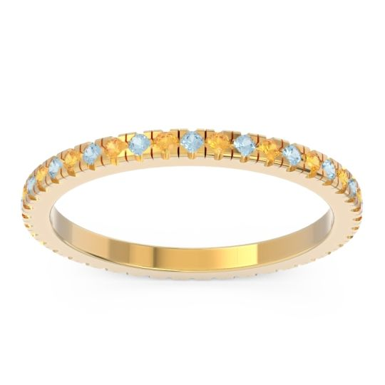Aquamarine Eternity Pave Kona Band with Citrine in 18k Yellow Gold