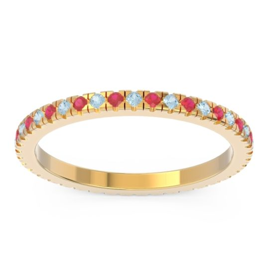 Aquamarine Eternity Pave Kona Band with Ruby in 14k Yellow Gold