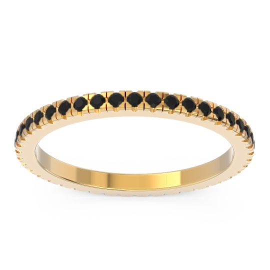 Black Onyx Eternity Pave Kona Band in 18k Yellow Gold