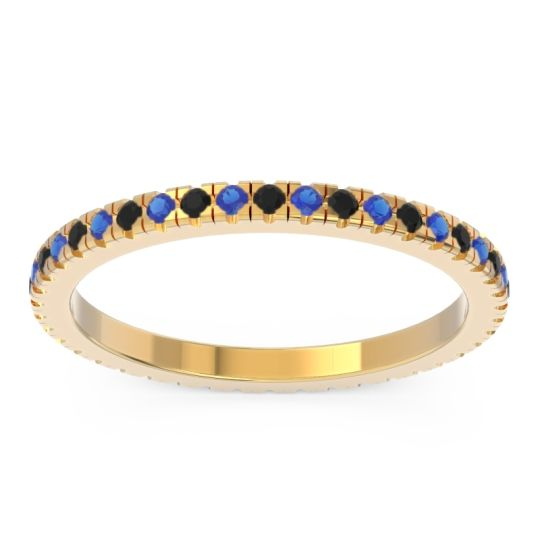 Black Onyx Eternity Pave Kona Band with Blue Sapphire in 14k Yellow Gold