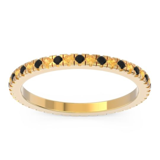 Eternity Pave Kona Black Onyx Band with Citrine in 14k Yellow Gold