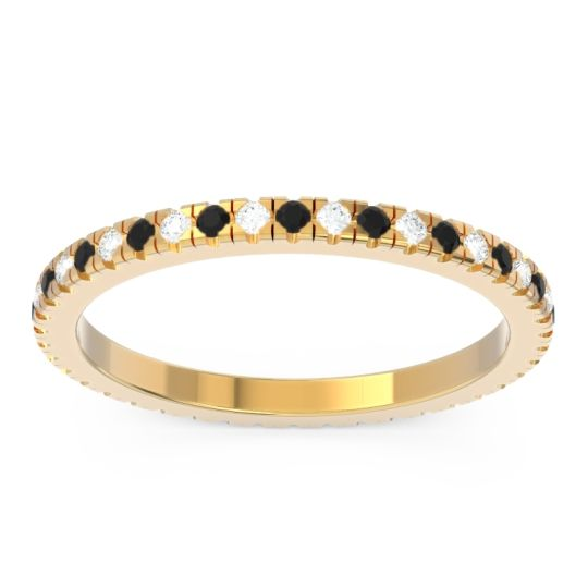 Black Onyx Eternity Pave Kona Band with Diamond in 18k Yellow Gold