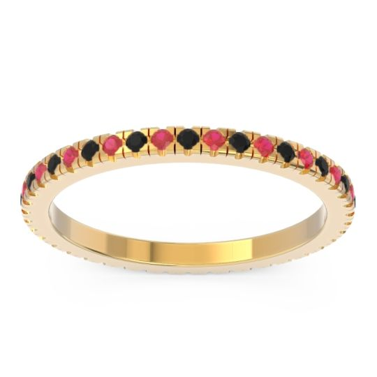 Eternity Pave Kona Black Onyx Band with Ruby in 14k Yellow Gold