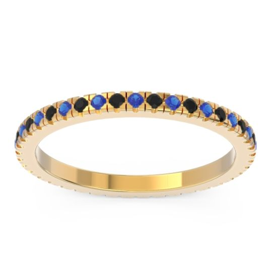 Blue Sapphire Eternity Pave Kona Band with Black Onyx in 14k Yellow Gold