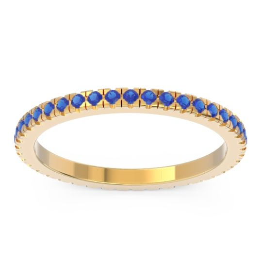 Eternity Pave Kona Blue Sapphire Band in 14k Yellow Gold