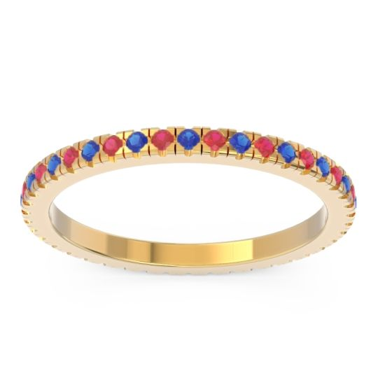 Eternity Pave Kona Blue Sapphire Band with Ruby in 14k Yellow Gold
