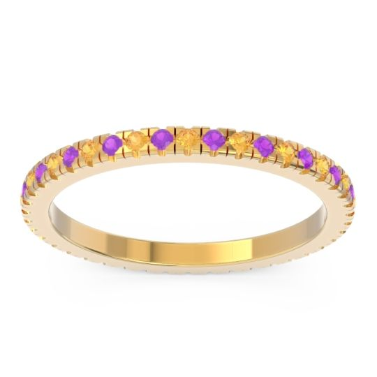 Citrine Eternity Pave Kona Band with Amethyst in 18k Yellow Gold