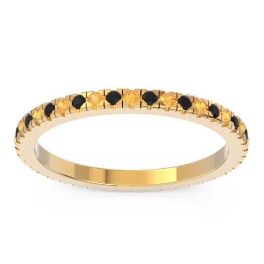 Eternity Pave Kona Citrine Band with Black Onyx in 18k Yellow Gold