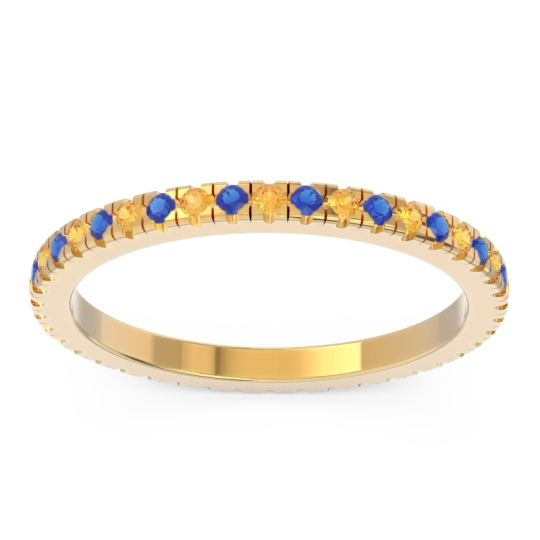 Citrine Eternity Pave Kona Band with Blue Sapphire in 18k Yellow Gold