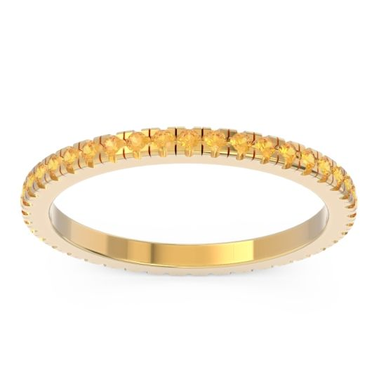 Eternity Pave Kona Citrine Band in 14k Yellow Gold