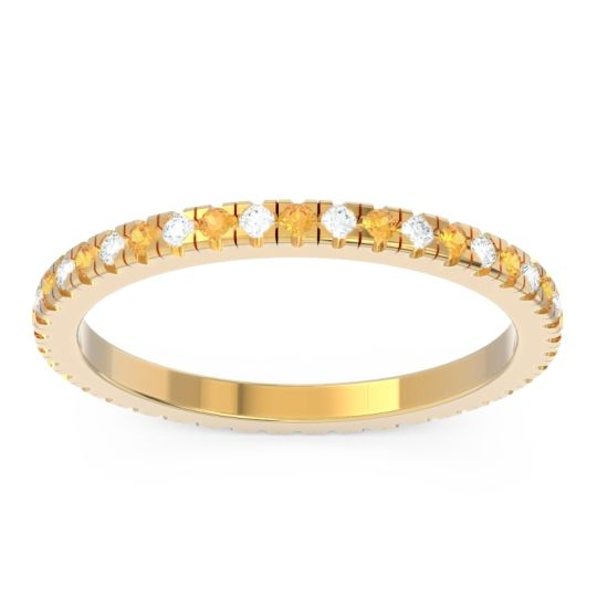 Eternity Pave Kona Citrine Band with Diamond in 14k Yellow Gold