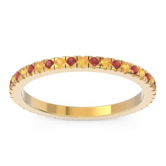 Eternity Pave Kona Citrine Band with Garnet in 14k Yellow Gold