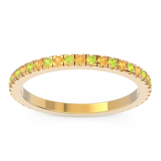 Citrine Eternity Pave Kona Band with Peridot in 14k Yellow Gold