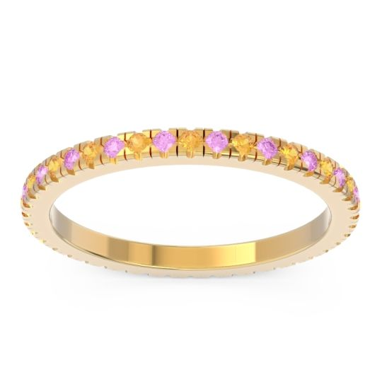 Citrine Eternity Pave Kona Band with Pink Tourmaline in 18k Yellow Gold