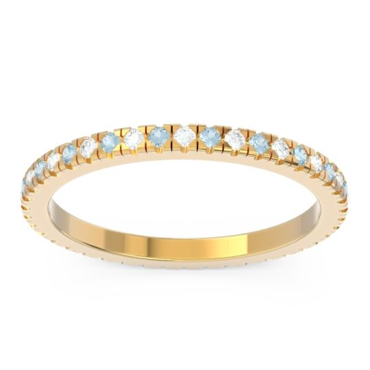 Diamond Eternity Pave Kona Band with Aquamarine in 18k Yellow Gold