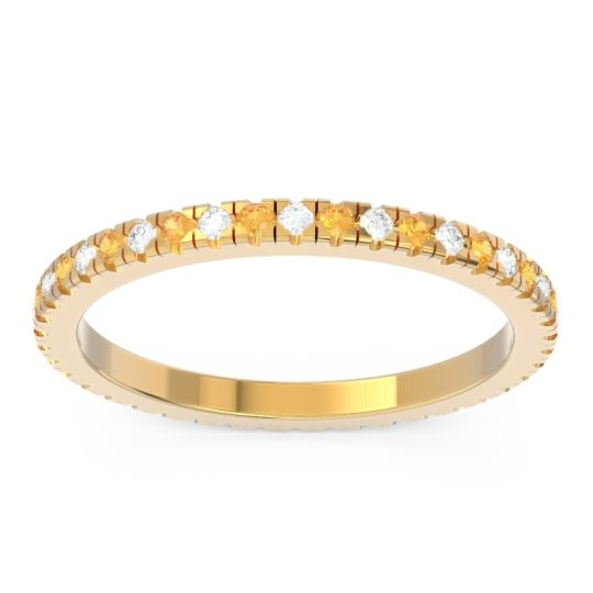 Diamond Eternity Pave Kona Band with Citrine in 14k Yellow Gold