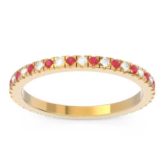 Eternity Pave Kona Diamond Band with Ruby in 14k Yellow Gold