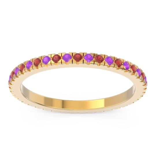 Eternity Pave Kona Garnet Band with Amethyst in 18k Yellow Gold