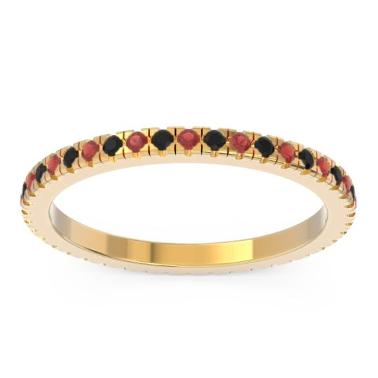 Garnet Eternity Pave Kona Band with Black Onyx in 14k Yellow Gold