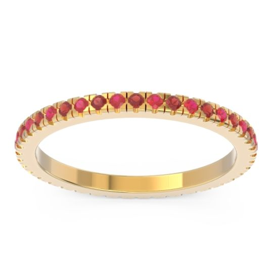 Garnet Eternity Pave Kona Band with Ruby in 18k Yellow Gold