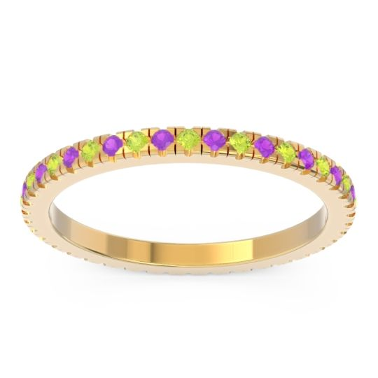 Peridot Eternity Pave Kona Band with Amethyst in 18k Yellow Gold