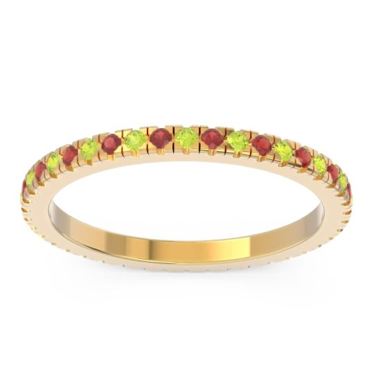 Eternity Pave Kona Peridot Band with Garnet in 18k Yellow Gold