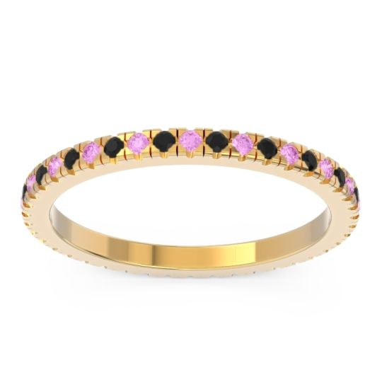 Pink Tourmaline Eternity Pave Kona Band with Black Onyx in 18k Yellow Gold