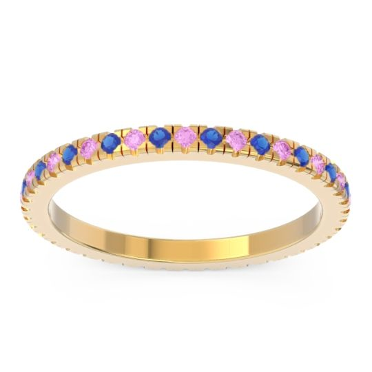 Pink Tourmaline Eternity Pave Kona Band with Blue Sapphire in 18k Yellow Gold