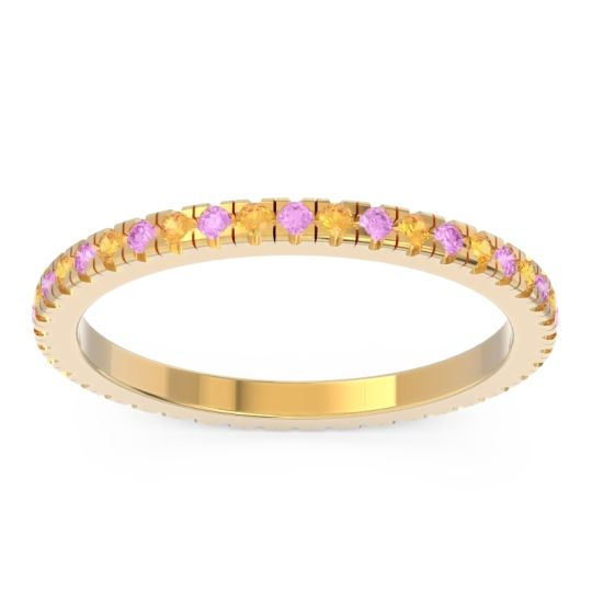 Pink Tourmaline Eternity Pave Kona Band with Citrine in 18k Yellow Gold