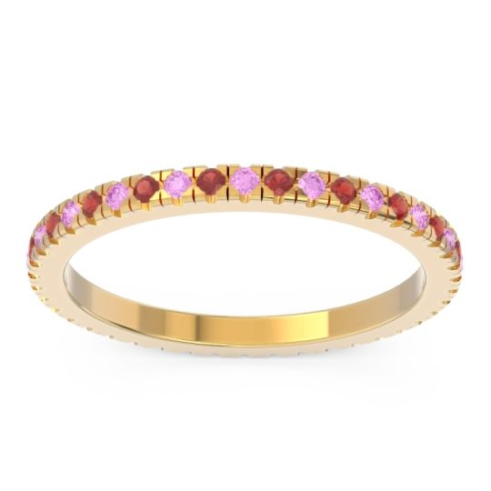 Eternity Pave Kona Pink Tourmaline Band with Garnet in 18k Yellow Gold