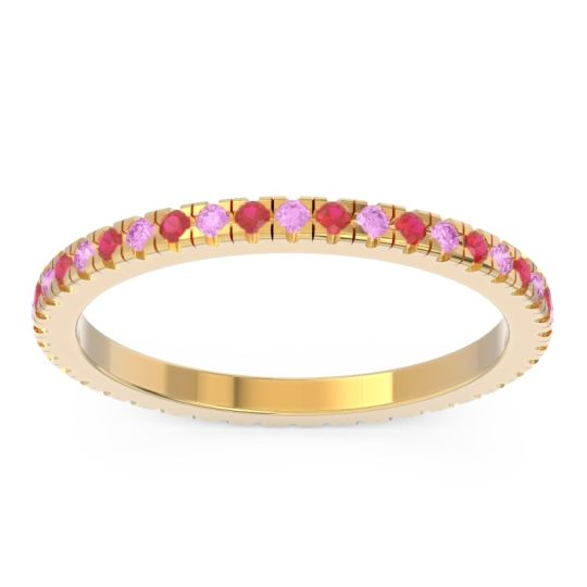 Pink Tourmaline Eternity Pave Kona Band with Ruby in 18k Yellow Gold