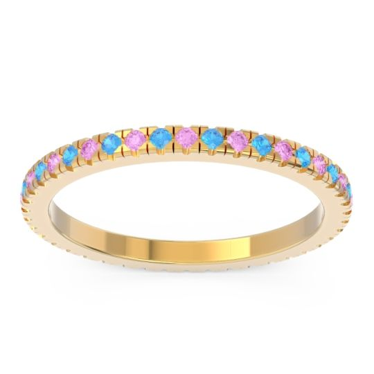 Pink Tourmaline Eternity Pave Kona Band with Swiss Blue Topaz in 14k Yellow Gold