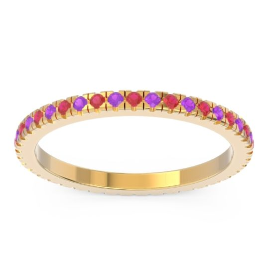 Eternity Pave Kona Ruby Band with Amethyst in 18k Yellow Gold