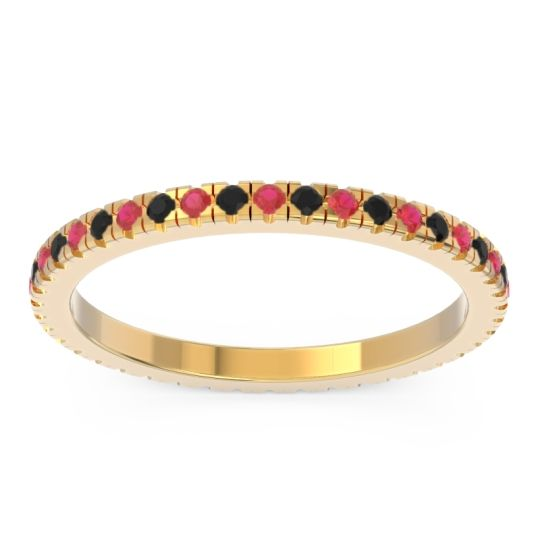 Ruby Eternity Pave Kona Band with Black Onyx in 14k Yellow Gold