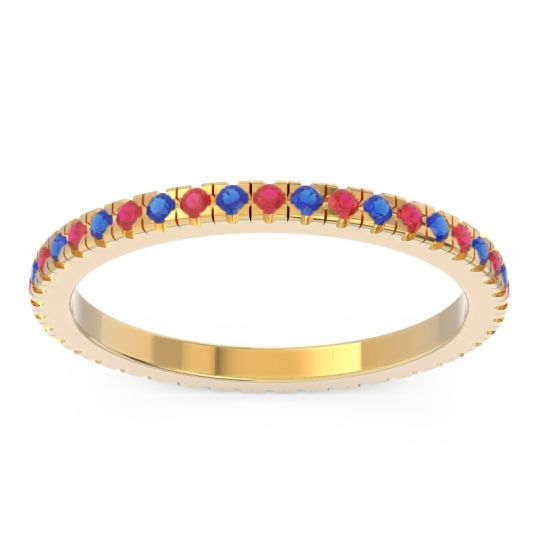 Ruby Eternity Pave Kona Band with Blue Sapphire in 18k Yellow Gold