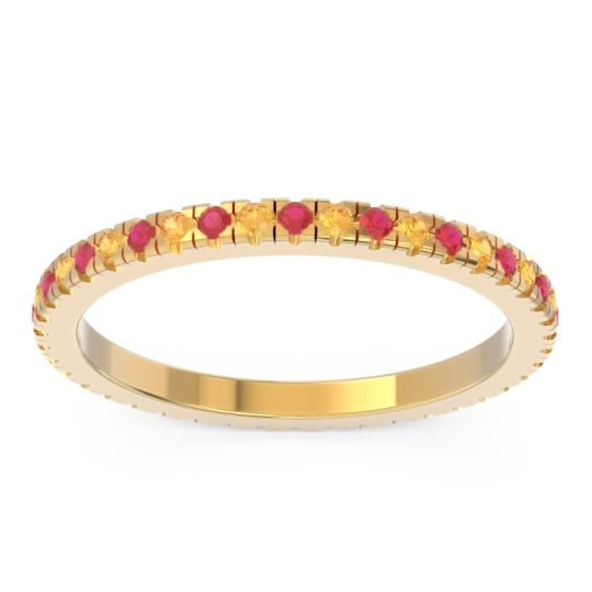 Ruby Eternity Pave Kona Band with Citrine in 18k Yellow Gold