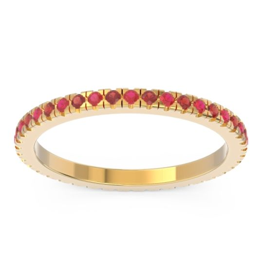 Ruby Eternity Pave Kona Band with Garnet in 14k Yellow Gold