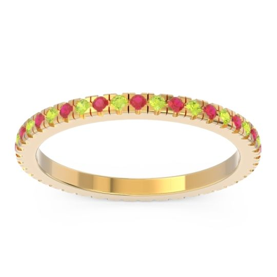 Ruby Eternity Pave Kona Band with Peridot in 18k Yellow Gold